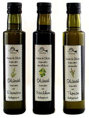 Kräuter - Gourmetölset mit Basilikumöl, Rosmarinöl und Thymianöl zum Top-Preis aus der Finca...