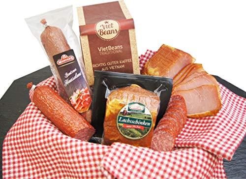 Schlemmerbox Wurstgeschenk & Kaffee Set | Salami Schinken geräuchert auf Buchenholz Delikatessen...