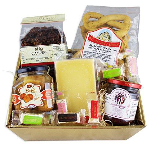 Goldener Delikatessen Geschenkkorb DOLCE&SALATO mit ausgesuchten italienischen Spezialitäten...