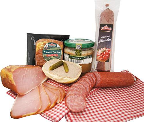 Wurstpaket Oberlausitz Geschenkset | Salami & geräucherter Schinken am Stück | Leberwurst im Glas...