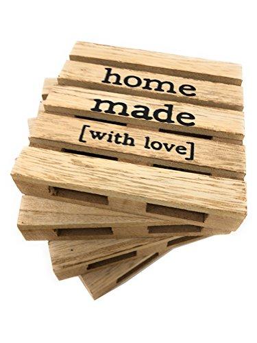 Untersetzer 4er-Set Home Made in Palettenform aus Holz (Natur)