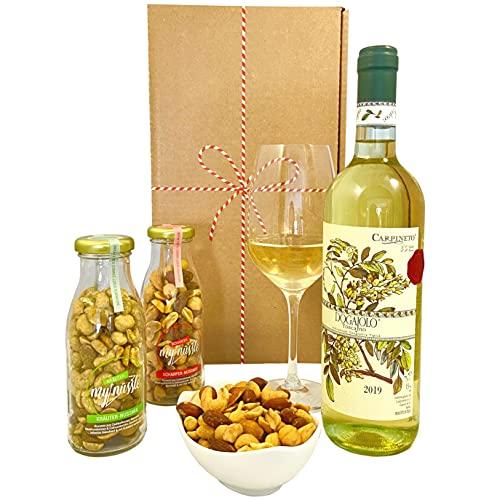 Geschenkset Toskana | Italien Geschenkkorb mit Wein und 2x Nussmischungen im Glas | Italienischer...