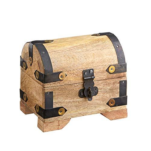Casa Vivente Schatztruhe aus hellem Holz, Schmuckkästchen und Aufbewahrungsbox, Verpackung für...