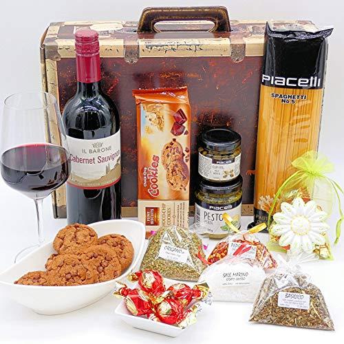 Geschenkset Italien 02 | Italienischer Geschenkkorb gefüllt mit Delikatessen und Cabernet Sauvignon...