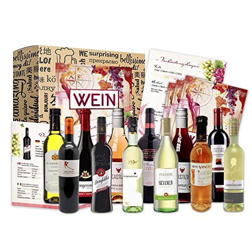 Weinbox Weltreise als Präsent (12 x 0,25l) für Weinliebhaber I Geschenkbox für Männer Frauen als...
