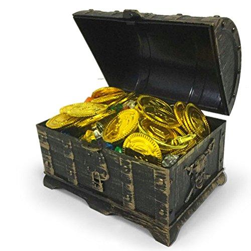TOYMYTOY Mini Piraten Schatzkiste Box mit 100 Goldmünzen, 100 Edelsteine Diamanten, 2 Ohrring, 2...