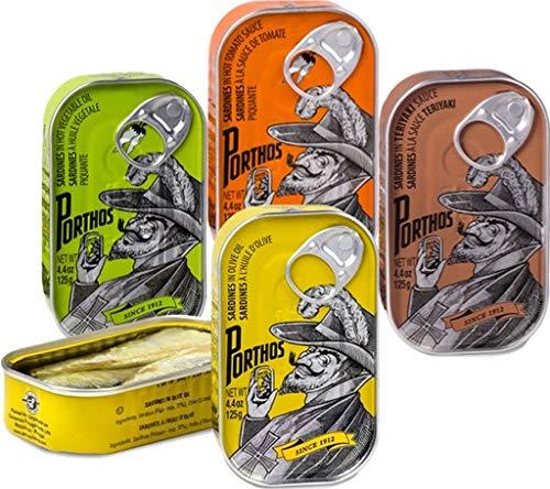 Porthos Sardinen im Sortiment - Gourmet Sardinen - 4 Dosen - Hohes Omega-3-Gehalt / Portuga