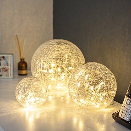 3er Set LED Glaskugeln warmweiß batteriebetrieben