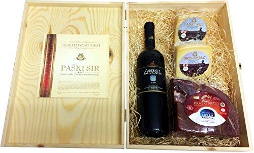 Mediterrane Geschenkbox mit Kraški Pršut Wein Geschenkset mit Pager Käse in Weinkisten aus Holz...