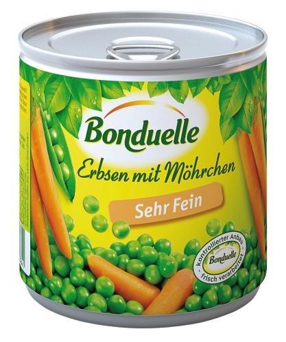 Bonduelle Erbsen sehr fein mit Möhrchen, 12er Pack (12 x 425 ml Dose)