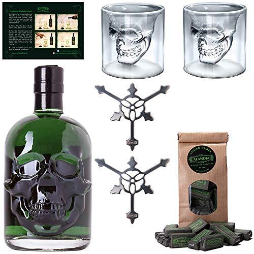 Totenkopf Absinth-Set   1x Hamlet Classic Green Absinth   2x Skull Absinth-Gläser   2x...