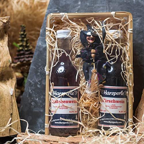 Harzer Wein-Geschenkkorb   Hübscher Geschenkkorb aus Holz mit Schlehenwein, Kirschwein...