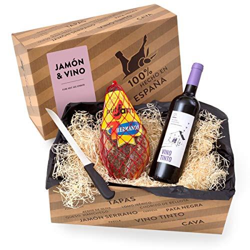 Delikatessen-Präsentkorb 'Jamón y Vino' mit Serrano-Schinken & Rotwein aus Spanien - Verpackt in...
