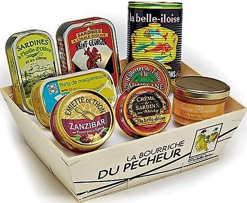 Geschenkbox 'Petite Bourriche' Sardinen Thunfisch Makrele Sardinencreme Thunfischmousse Fischsuppe...