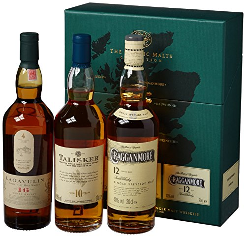 The Classic Malts Collection Pack Strong, Single Malt Whisky Pack mit Lagavulin 16, Talisker 10,...