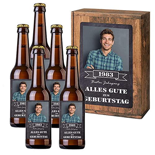 Personalisiertes Bier mit Wunschtext und Foto | 5 x 0,33 l Dinkelbier als Geschenkset | Persönliche...