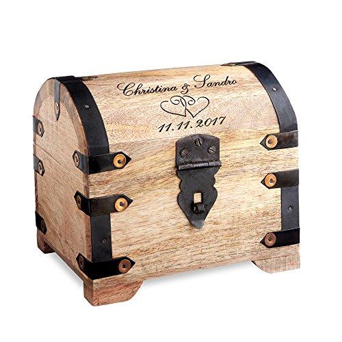 Casa Vivente Schatztruhe aus hellem Holz mit Gravur zur Hochzeit, Motiv Herzen, Personalisiert mit...