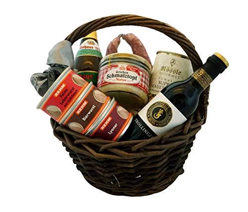 Fresskorb deftig rustikal - schwäbischer Geschenkkorb gefüllt - Präsentkorb Lebensmittel -...