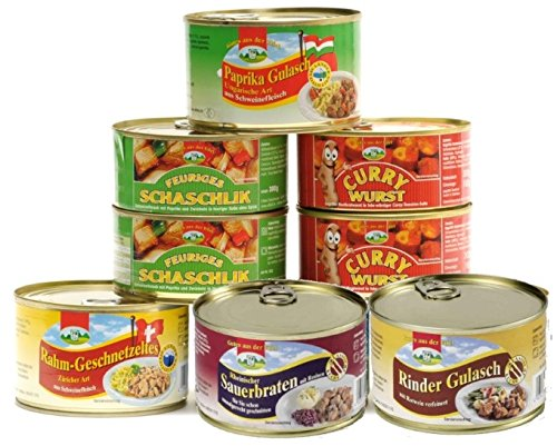 6er Set Currywurst, Paprikagulasch & Co., 2,8 kg mit 6 Sorten Fertiggerichte Konserven...