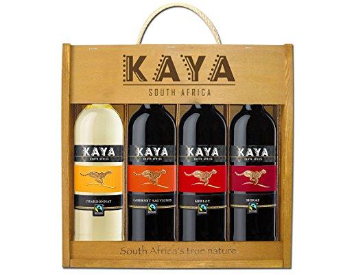 Kaya Fairtrade Holzkiste Trocken - Weingeschenk Südafrika (4 x 0.75 l) Rotwein Weißwein