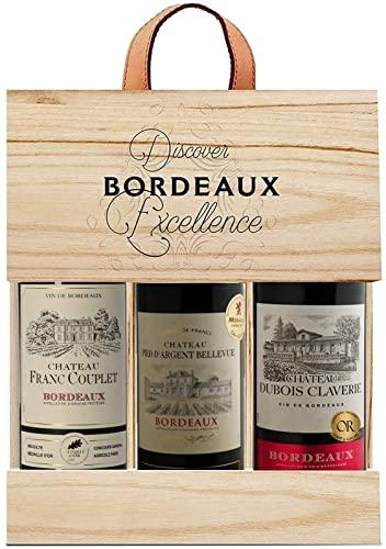 Selection Bordeaux - Wein Probierpaket - Rotwein mit Goldmedaille in Holzkiste - Ideal als Geschenk...