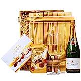 Geschenkset Nizza Geschenkkorb mit Holzkiste, Brut Chardonnay und Lindt Pralinen