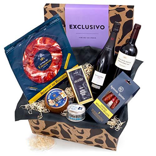 Präsentkorb EXCLUSIVO mit spanischen Spezialitäten - Geschenkkorb gefüllt mit edler Feinkost aus...