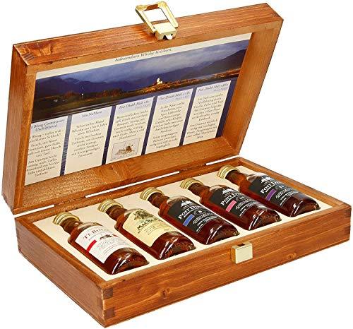 Pràban na Linne Whisky Probier- und Geschenkset (5 x 0.05 l): 5 x 50 ml in hochwertiger Holzkiste |...