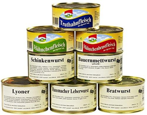 8er Set Wurstkonserven/Fleischkonserven, rd. 2,9 kg, z.B. Hausmacher Leberwurst, Mettwurst,...