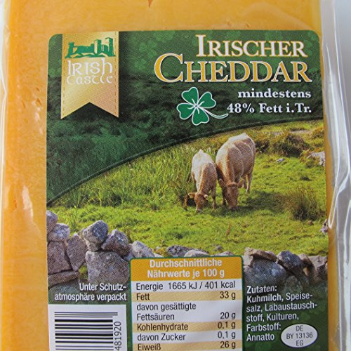 Traditioneller Irischer Cheddar Käse 500g. MHD: 15.07.2020