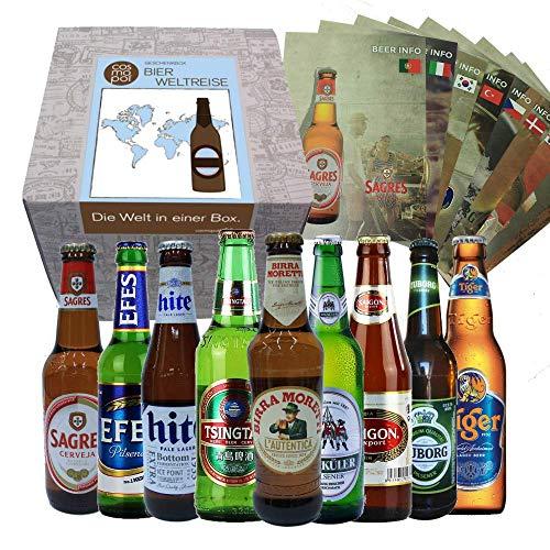 Bier Geschenkbox Männer Bierweltreise '9 Biere aus aller Welt' | Geschenkbox und Bierbroschüre |...