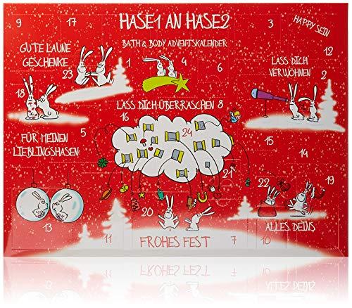 Accentra Adventskalender Bath & Body Hase1 an Hase2, Weihnachtskalender mit Kosmetik- &...