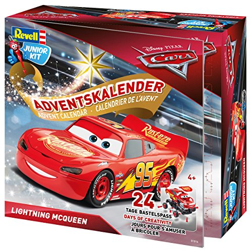 Revell Junior Kit 01016 - Adventskalender Lightning McQueen, Disney Cars 3 - 24 Tage cooler...