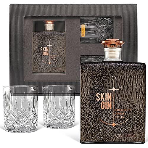 Geschenkset Skin Gin im Reptile Brown Design inkl. 2 geschliffener Tumbler-Gläser / 42% Vol. (0,5...