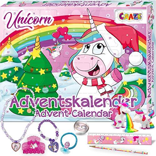 CRAZE Adventskalender UNICORN niedliche Einhorn Figuren Haarschmuck Accessoires Weihnachtskalender...